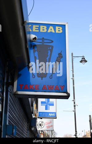 Tottenham London UK - Kebab shop next to NHS centre in Tottenham High Road  Photograph taken by Simon Dack - Stock Image
