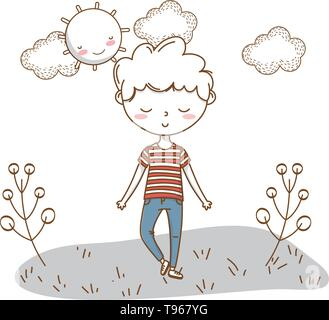 Stylish boy blushing cartoon outfit jeans stripped tshirt  nature clouds background frame and sun vector illustration graphic design - Stock Image