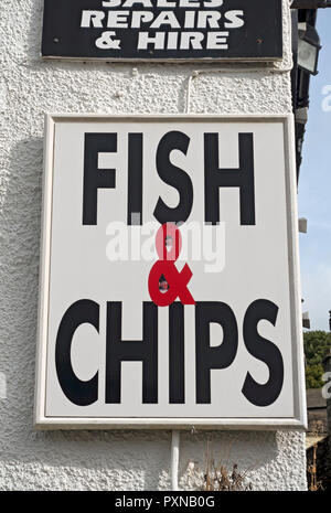 Fish and chips shop sign England UK United Kingdom GB Great Britain - Stock Image
