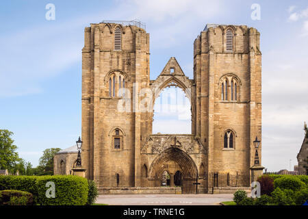 Two towers of 13th century Gothic Cathedral ruins in Elgin, Moray, Scotland, UK, Britain - Stock Image