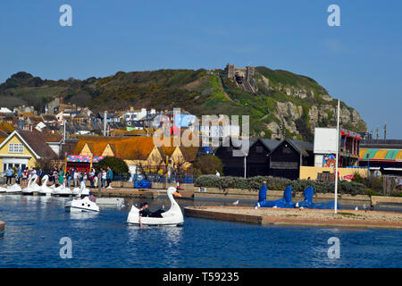 The Old Town Boating Lake with swan pedalos in Hastings, East Sussex, UK - Stock Image