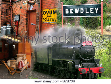 Bewdley S V R Montage - Stock Image