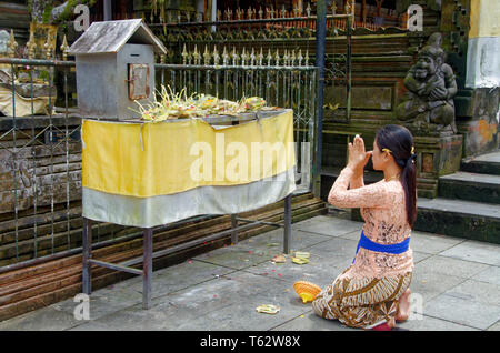 Young woman giving thanks in prayer, Pura Tirta Empul, Ubud, Bali, Indonesia - Stock Image