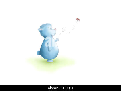 cute hand drawn illustration of blue fantasy animal standing, looking at flying ladybug, on white background - Stock Image