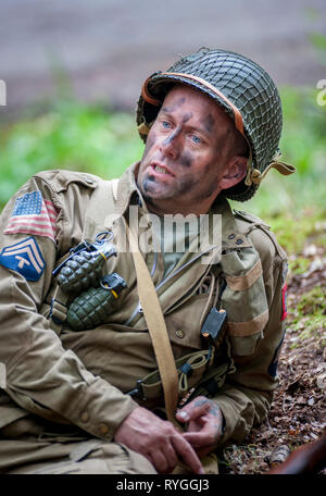 Woodhall Spa 1940s Festival - Woodhall Spa 1940s Festival - portrait of an American soldier an Airborne Diviasion of World War 2 - Stock Image
