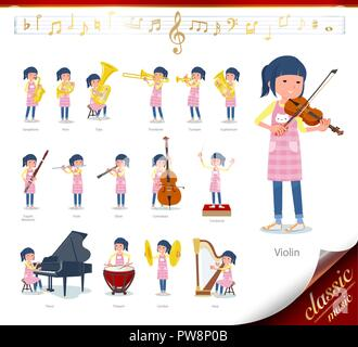 A set of Childminder women on classical music performances.There are actions to play various instruments such as string instruments and wind instrumen - Stock Image