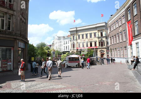 Busy Stadhuisbrug square with Utrecht City Hall (Stadhuis) in the historic centre of Utrecht, The Netherlands. In - Stock Image