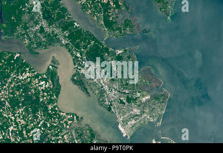 NASA satellite image showing triangle of colonial towns Jamestown, Williamsburg, Yorktown in Virginia, USA 3 July 2018 - Stock Image