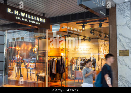 RM Williams boots and clothing store in Sydney, an iconic australian brand particularly for their boots,Sydney,Australia - Stock Image