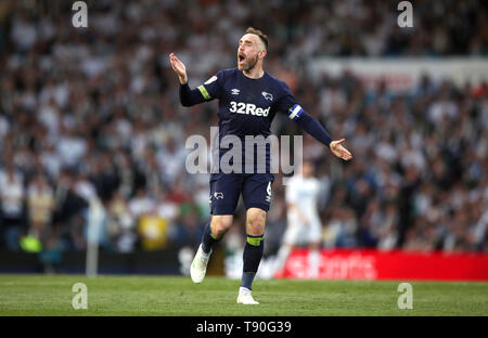 Derby County's Richard Keogh celebrates after Jack Marriott (not pictured) scores his side's first goal of the game during the Sky Bet Championship Play-Off, Semi Final, Second Leg match at Elland Road, Leeds. - Stock Image