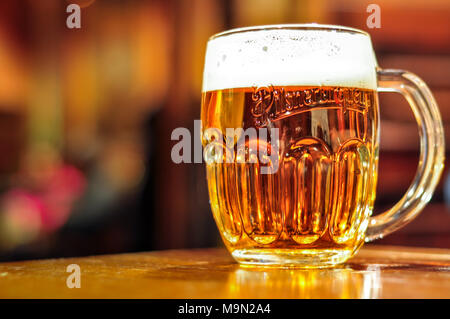 Beer on the table, Czech Republic - Stock Image