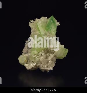 A sample of augelite aluminum phosphate mineral and quartz crystal taken from the Mundo Nuevo Mine September 15, - Stock Image
