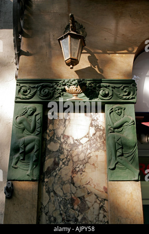 spain Barcelona Ramblas facade art deco detail - Stock Image