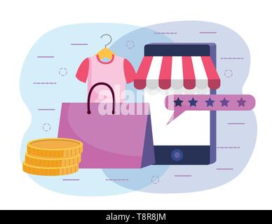 smartphone technology to ecommerce with shirt and shopping bag vector illustration - Stock Image