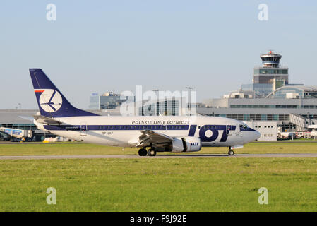 LOT / Polish Airlines Boeing 737-700 Reversing on a Runway in Prague - Stock Image