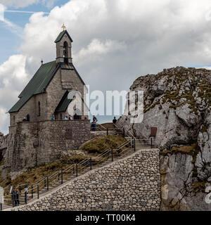 Bayrischzell, Bavaria, Germany - June 1, 2019.  The Wendelsteinkircherl highest church is a tourist attraction - Stock Image