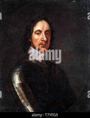 Oliver Cromwell in armour, portrait painting by the circle of Adriaen Hanneman , 17th Century - Stock Image