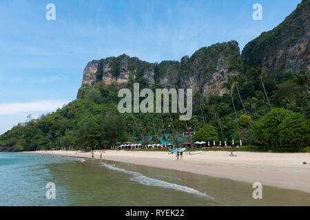 Amazing cliffs behind Centara Grand beach near Ao Nang, Krabi province, Thailand - Stock Image