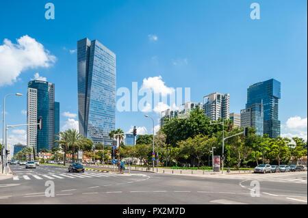,  - 08 September 2018: Sarona gardens - Azrieli Sarona tower designed by Moshe Tzur in background - Stock Image