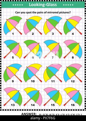 IQ, memory and spatial skills training visual abstract puzzle with colorful umbrellas: Can you spot the pairs of mirrored pictures? Answer included. - Stock Image