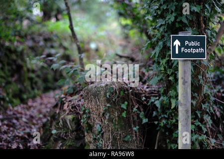 A public footpath sign in Cornwall - Stock Image