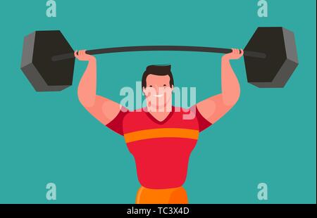 Funny bodybuilder raises heavy barbell. Gym vector - Stock Image