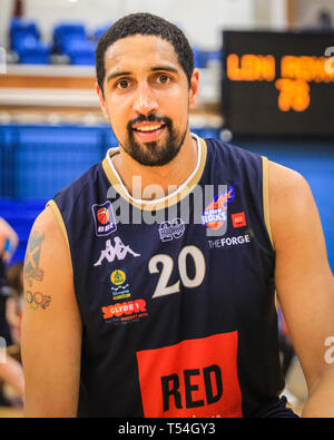 London, UK, 20th April 2019. Kieron Aracha, former Team GB captain who capped 105 times for Great Britain, and Glasgow captain, played his last away game of the season. Achara announced that he would retire at the end of this season. Home team LCR win the tight game 78-70. Credit: Imageplotter/Alamy Live News - Stock Image