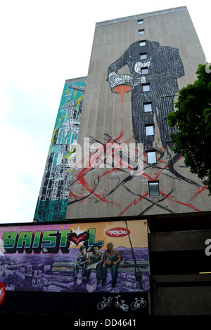 The Suited Man, a 12-story work of street art by Bristol native Nick Walker, on Nelson Street in Bristol - Stock Image