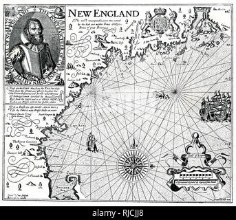 A coastal map of New England, with a portrait of Captain John Smith in the upper left corner. - Stock Image