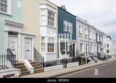 Colourful terraced houses, Hillgate Place, Kensington, London Borough of Kensington and Chelsea, Greater London, England, United Kingdom - Stock Image