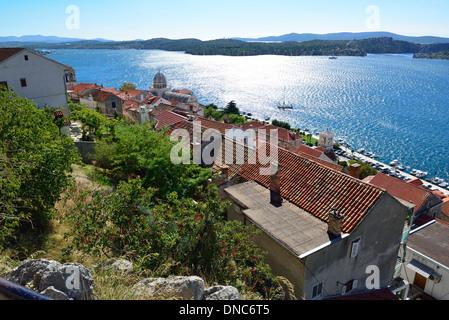 From overlooking Zadar 's  roof tops across the adriatic sea  to Poljana -on the Dalmation island of Ugljan, Croatia - Stock Image