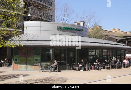 Starbucks Coffee Shop Sheldon Square Paddington London - Stock Image