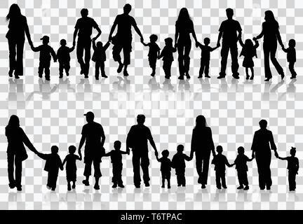 Collect family silhouettes - Stock Image