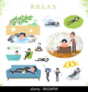 A set of businessman about relaxing.There are actions such as vacation and stress relief.It's vector art so it's easy to edit. - Stock Image