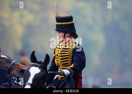 The Queen attended a Royal Review of the King's Troop Royal Horse Artillery for their 70th anniversary in Hyde - Stock Image
