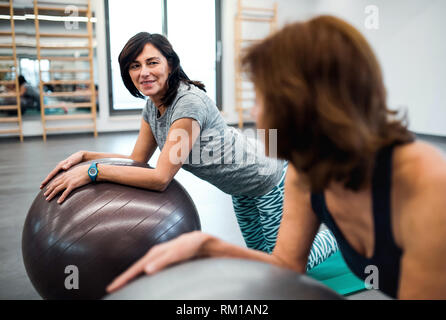 Group of cheerful female seniors in gym doing exercise on fit balls. - Stock Image