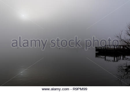 A pale sun reflected in the still water of a lake shrouded in fog. - Stock Image