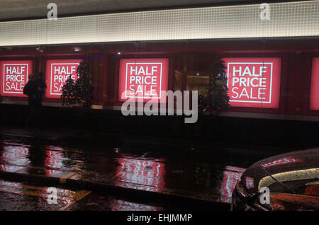 FOR SALE signs in retail shop window in Oxford Street in West End of London UK - Stock Image