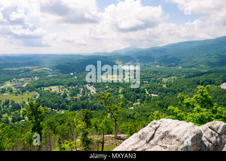 View of Caryville, Tennessee from the top of the ridge at Devil's Racetrack on the Cumberland Trail. - Stock Image