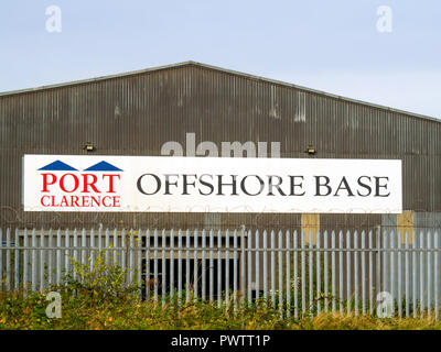 Sign for Port Clarence Offshore Base on an industrial building on the North Bank of the river Tees - Stock Image