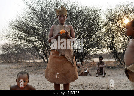 Bushmen Tribe of the Kalahari Desert, Botswana - Stock Image