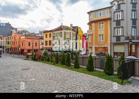 Streets and building architecture at Kapana district in city of Plovdiv, Bulgaria - Stock Image