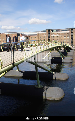 Pedestrian footbridge at West India Quay Docklands London - Stock Image