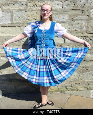 Young female Scottish dancer, Market Cross, Lerwick, Shetland, Northern Isles, Scotland, United Kingdom - Stock Image