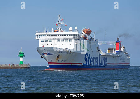 arriving ferry, Travemuende, Schleswig-Holstein, Germany - Stock Image