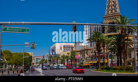 Las Vegas Boulevard aka The Strip showing the Paris Hotel and the Flamingo Hotel - Stock Image