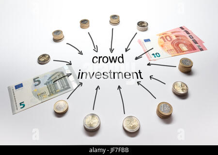 Crowd investment with the european currency Euro in coins and banknotes - Stock Image
