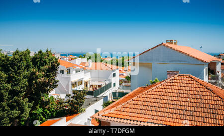 Top View of Cascais Streets and ocean, Portugal. - Stock Image