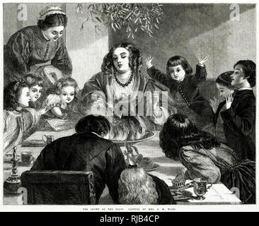 The boiled plum-pudding, crammed with raisins, figs and orange-peel, set a alight with blazing brandy. - Stock Image