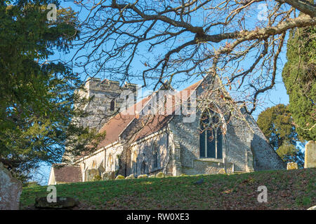 St George's Church, Crowhurst, East Sussex, UK. Location of a famous ancient yew tree, reputedly over 1000 years old. - Stock Image